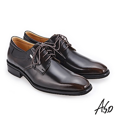 A.S.O 3D超動能 經典熱銷真皮鞋 茶