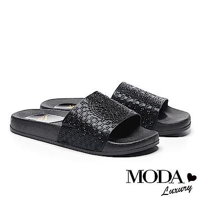 拖鞋 MODA Luxury 幾何方鑽民族風厚底拖鞋-黑