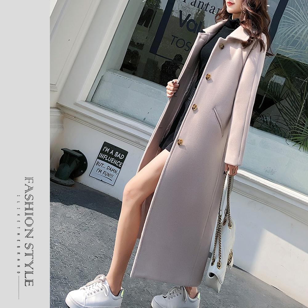 2F韓衣-簡約翻領時尚保暖毛呢大衣-2色(S-XL)