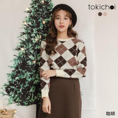 東京著衣 都會時尚雙色方塊交錯磨毛短版上衣