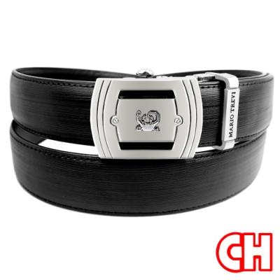 CH-BELT細緻特色皮紋自動扣休閒紳士皮帶腰帶(黑)