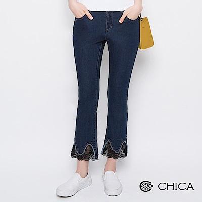 CHICA 靜謐優雅花邊蕾絲微喇叭牛仔褲(1色)