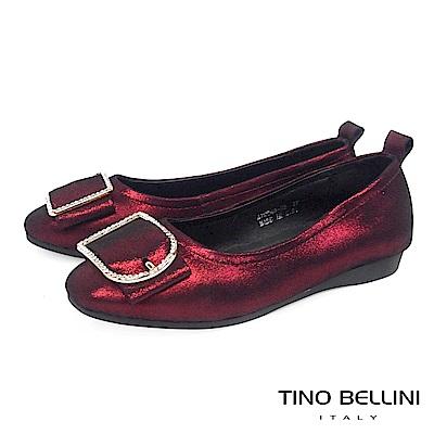 Tino Bellini緞面光感鑽飾全真皮平底娃娃鞋_紅