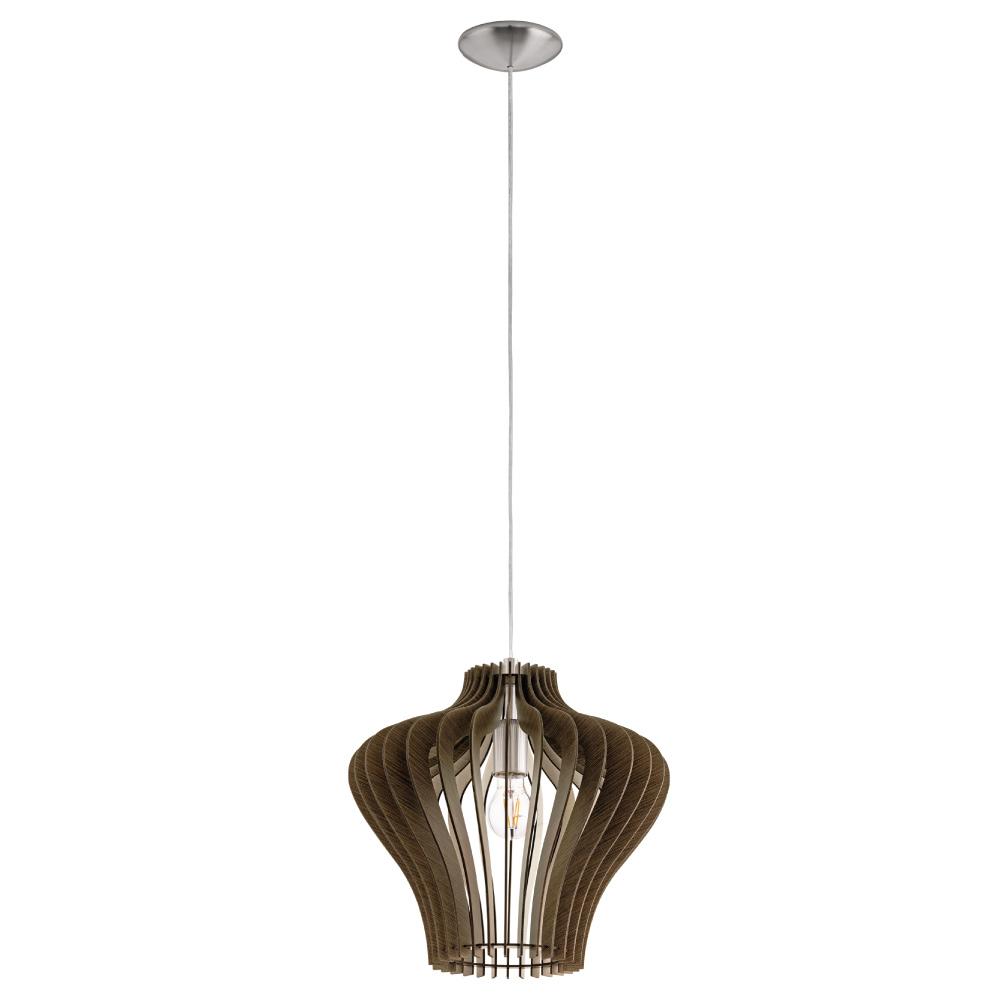 EGLO歐風燈飾 北歐原木曲面燈罩式吊燈(不含燈泡)