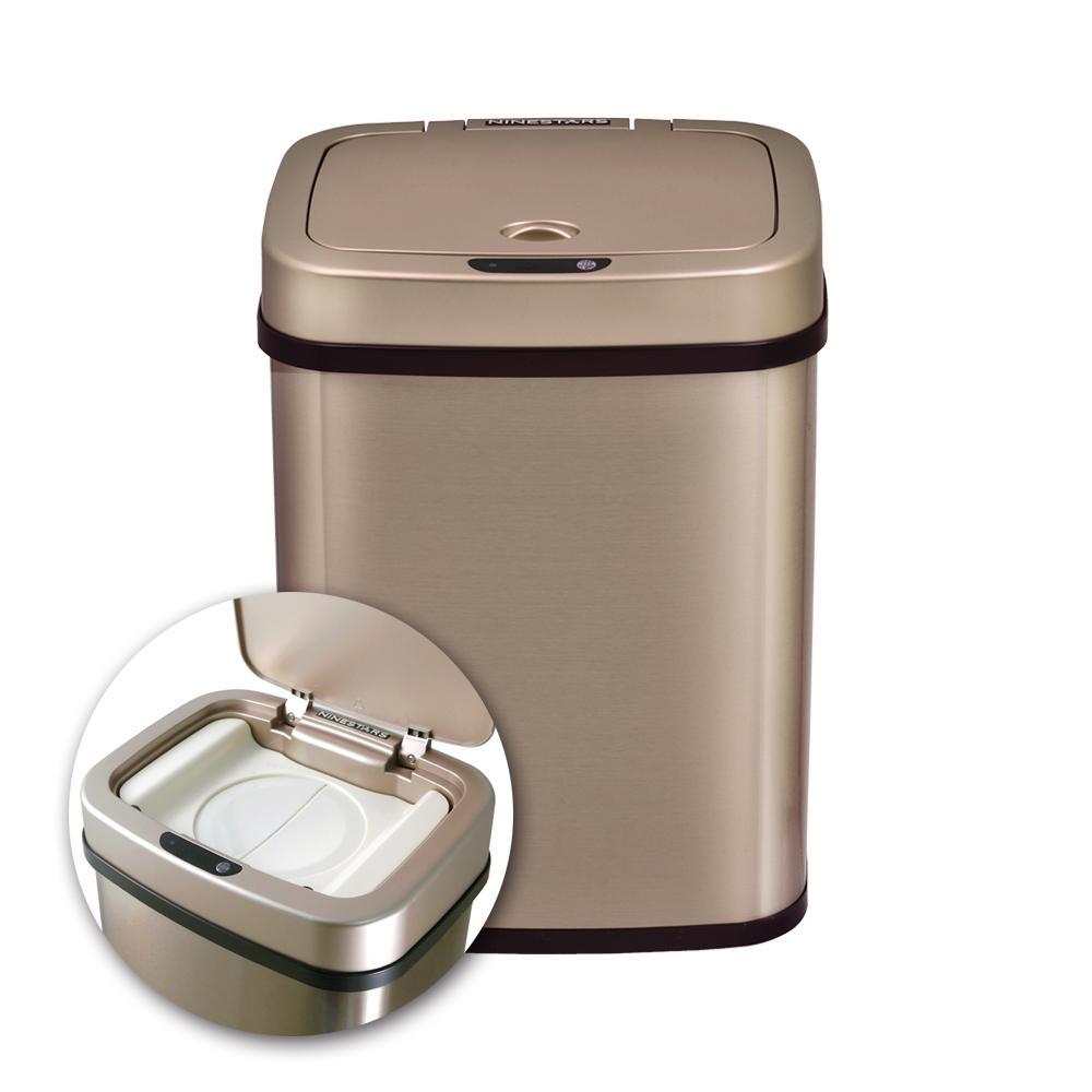 美國NINESTARS感應式尿布防臭垃圾筒NPT-12-5香檳金