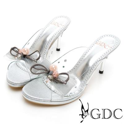 GDC-迷人公主水鑽玻璃感後空細跟涼鞋-銀色