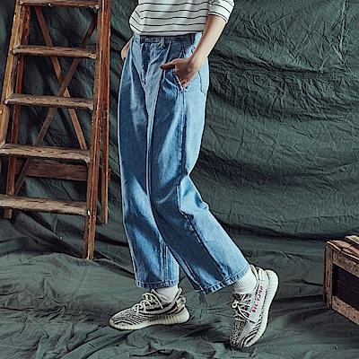 CACO-皺褶寬鬆牛仔褲-女【RNA081】