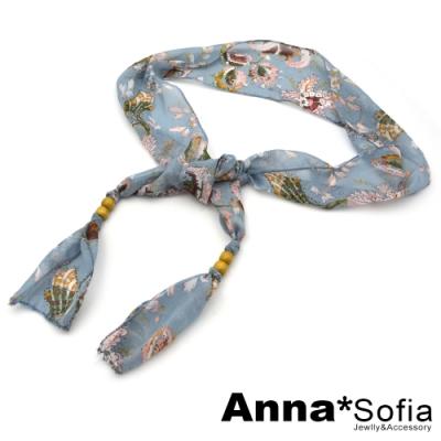 AnnaSofia 腰花古紋雪紡 綁帶式腰帶腰鍊(水藍系)