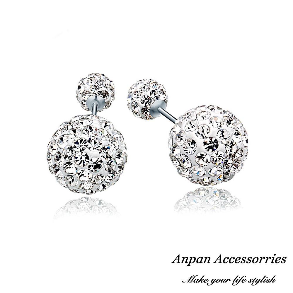 【ANPAN愛扮】S925純銀飾 輕奢閃亮星白金水鑽後扣耳釘式耳環
