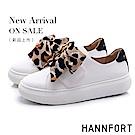 HANNFORT CAMPUS PLATFORM  豹紋絲帶厚底休閒鞋-女-白