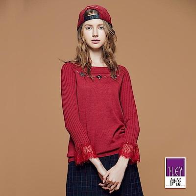 ILEY伊蕾 優雅珠飾一字領落肩羊毛針織衣(黑/紅)