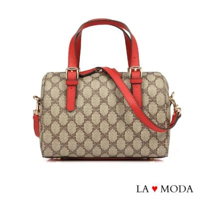 La Moda 百搭不敗單品Logo壓紋大容量手提肩背斜背波士頓包
