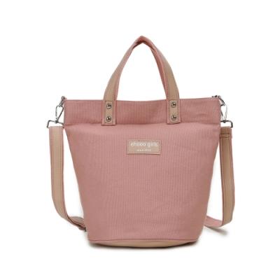 CABACI 清新色系手提斜背二用帆布水桶造型包-粉紅色