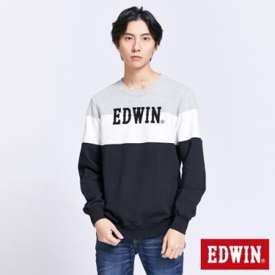 EDWIN 配色拼接LOGO長袖T恤-男-黑色