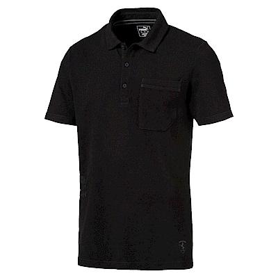 PUMA-男性法拉利經典系列Life短袖POLO衫-黑色-歐規