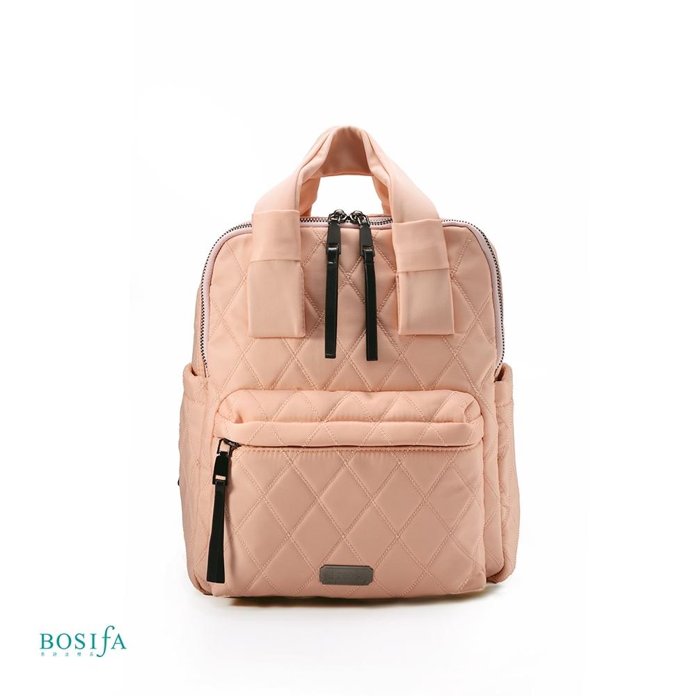 【BOSIfA】輕巧菱格紋後背包(柔膚粉181001PN)(暢貨出清)