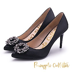 Pineapple Outfitter 優雅名媛 緞面水鑽高跟鞋-黑色