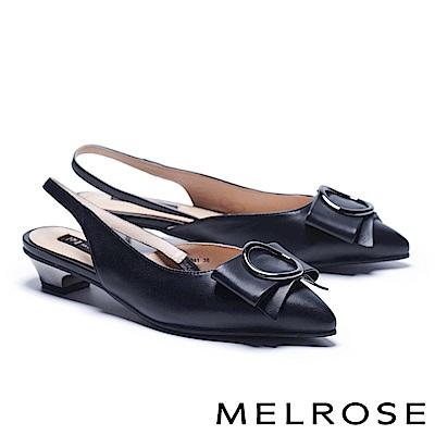 低跟鞋 MELROSE 知性典雅繫帶圓飾釦羊皮後繫帶低跟鞋-黑