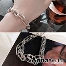 【3件5折】AnnaSofia 個性穿鍊粗橢鑽鍊 手環手鍊(銀系)