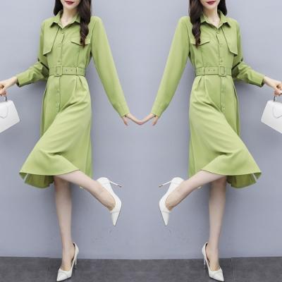 俐落知性法式復古繫帶修身連衣裙 L-4XL(共二色)-KVOLL