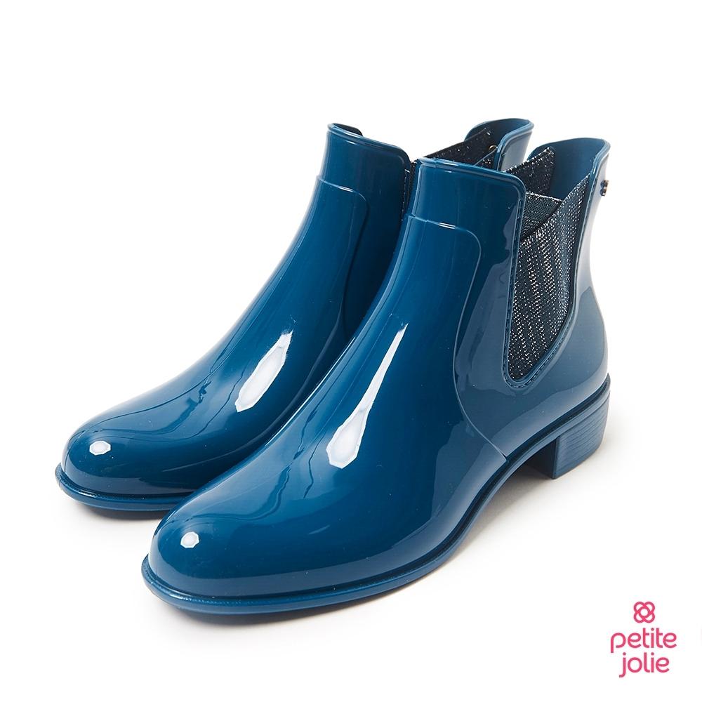 Petite Jolie-銀蔥鬆緊爾西短靴-蔚藍