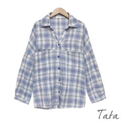 V領開襟口袋格紋襯衫 共二色 TATA-F