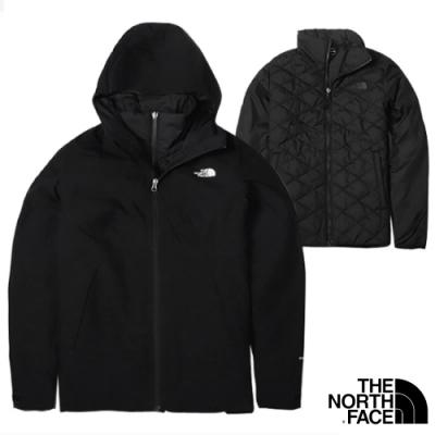 The North Face 女新款 防風防水透氣耐磨連帽兩件式外套.夾克/風雨衣_黑 N