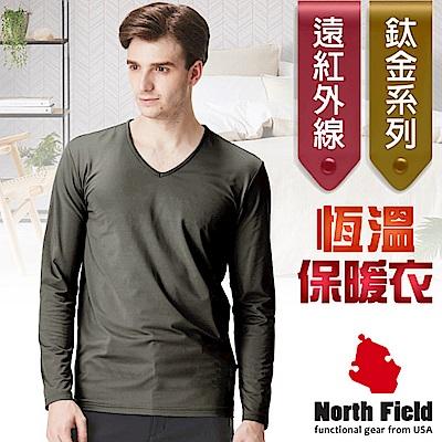 North Field 男 鈦金 遠紅外線+膠原蛋白V領控溫內刷毛保暖衛生衣_炭灰