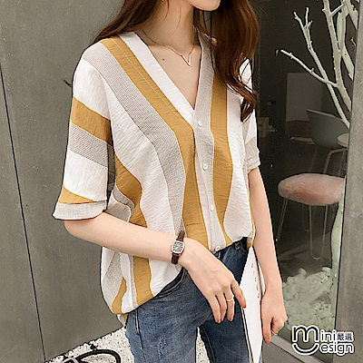 V領排扣條紋拼色襯衫上衣 黃色-mini嚴選