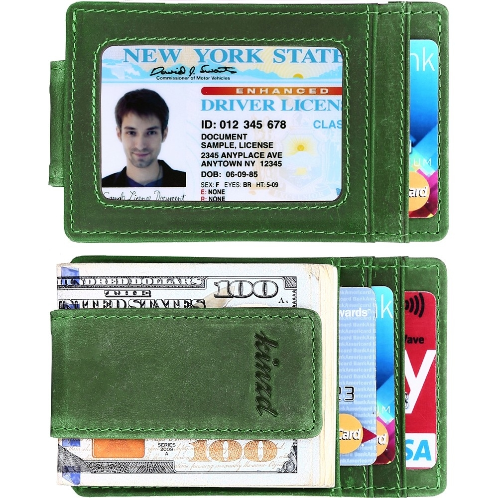 《Kinzd》瘋馬皮防盜證件鈔票夾(綠)