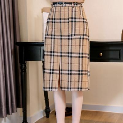 設計所在Lady-格子加厚毛呢包臀裙中長版(S-2XL可選)