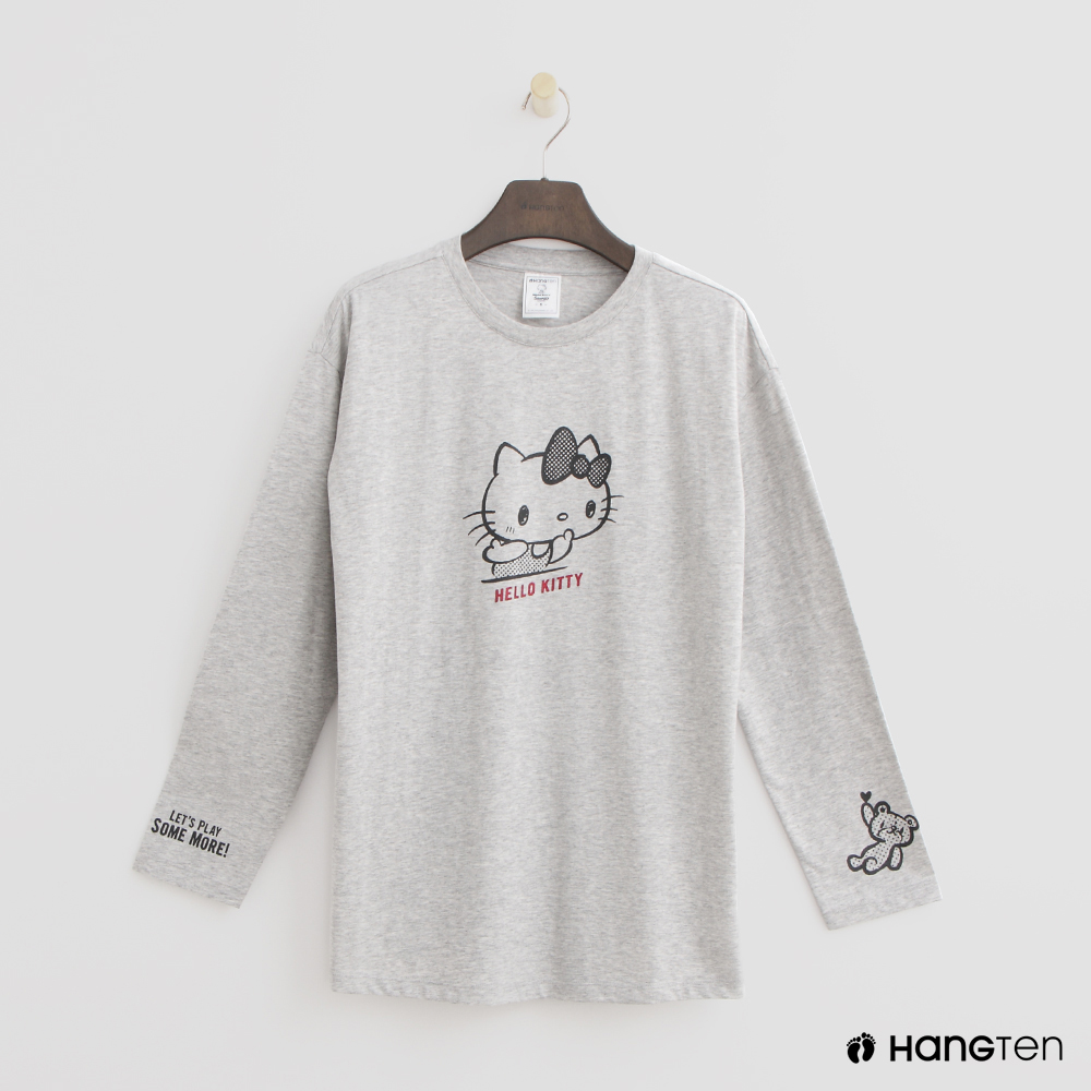 Hang Ten - 女裝 - Hello Kitty 手繪風棉質T恤 - 灰