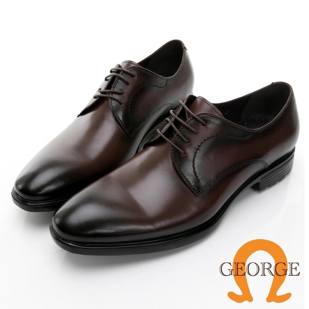 GEORGE喬治皮鞋 輕量系列 漸層刷色真皮綁帶氣墊鞋 -咖啡 115002BW