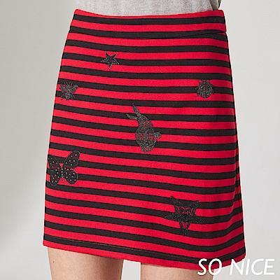 SO NICE亮蔥刺繡條紋羅馬布短裙