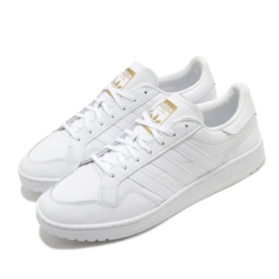 adidas 休閒鞋 Team Court 復古 低筒 男女鞋 愛迪達 三葉草 皮革鞋面 穿搭 上學 白 金 EF6049