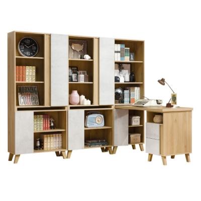 D&T德泰傢俱 JOYE清水模風格7.4尺書櫃搭配調整書桌-220.5x172x181cm
