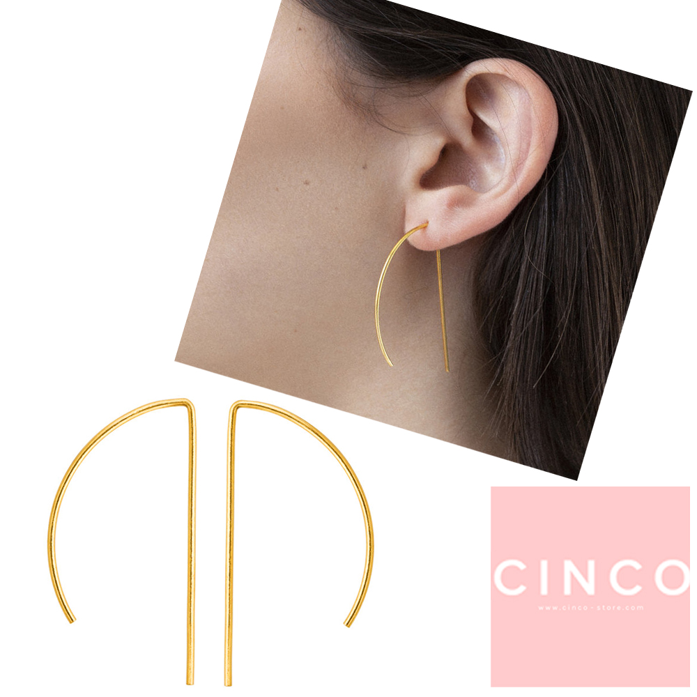 葡萄牙精品 CINCO Valentina earrings 24K金耳環 極簡線型耳環