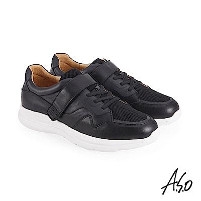A.S.O機能休閒 萬步健康鞋 魔鬼黏款休閒鞋-黑