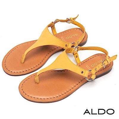 ALDO 原色牛皮T字金屬繫帶夾腳涼鞋~溫暖黃色
