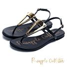 Pineapple Outfitter 輕盈夏日 質感牛皮三角金屬扣平底涼鞋-黑色