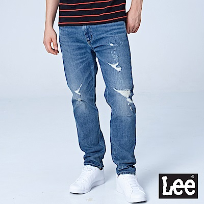 Lee 731中腰舒適小直筒牛仔褲/101+中深藍
