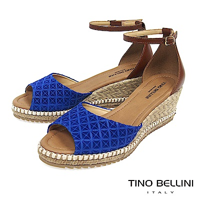 Tino Bellini 巴西進口幾何壓紋雙色麻編楔型魚口涼鞋 _ 藍