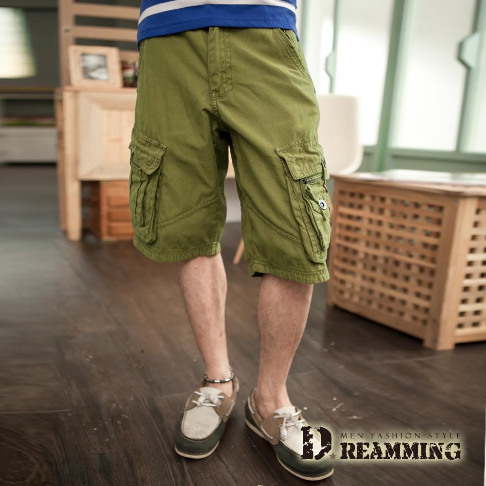 Dreamming 多口袋可反摺休閒五分短褲 工作褲-軍綠