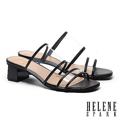 拖鞋 HELENE SPARK 時尚潮流透明膠片羊皮滾邊粗高跟拖鞋-黑