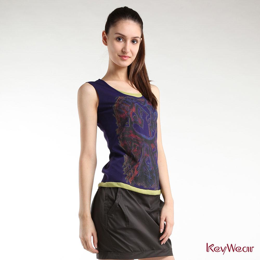 KeyWear奇威名品    精緻撞色部落圖騰無袖背心-紫色