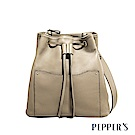 PEPPER`S Beverly 牛皮水桶包 - 亞麻灰