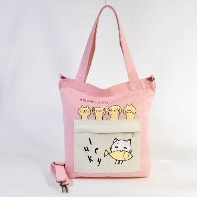 Miyo學院風貓咪吃魚帆布包(粉紅色)