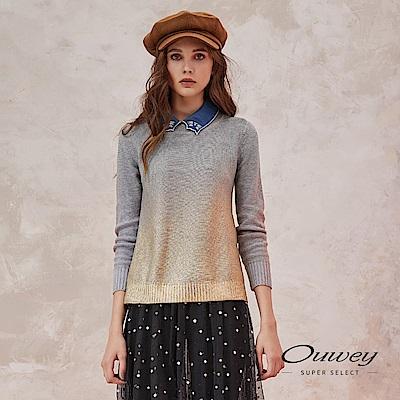 OUWEY歐薇 金屬漸層紋理質感圓領針織上衣(灰)
