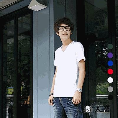 男人幫大尺碼-純棉 領口加厚 V領短袖素面T恤 SL007