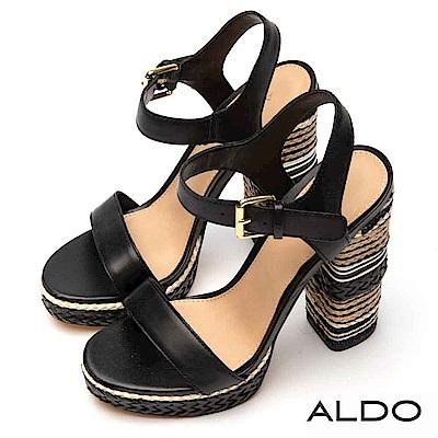 ALDO 真皮鞋面麻花編織釦帶防水台粗跟涼鞋~尊爵黑色